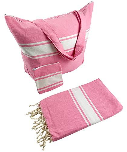 SOLTAKO Saunatasche Strandtasche XXL extra groß inkl. Strandtuch Saunatuch & Mini-Pochette im Set Shopper Tragetasche Geschenkset Geschenkidee Geschenk 55 x 45 x 17 cm