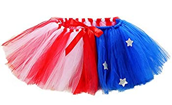 Tutu Dreams Halloween Patriotic Costumes for Women July 4th American Flag Tutu Adult Independence Day Party  Free Size Red-Blue