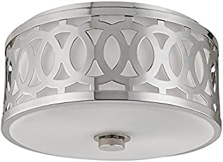 Hudson Valley Lighting 4314-PN Two Light Flush Mount from The Genesee Collection, 2, Polished Nickel