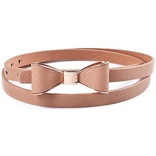 Houer Faja de cinturón Fina de Cuero sintético con Lazo de Color Caramelo a la Moda para Mujer, Beige