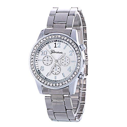 SANDA Reloj Hombre Tendencia de la Moda Miran la Correa de Acero de aleación con Diamantes-Plata