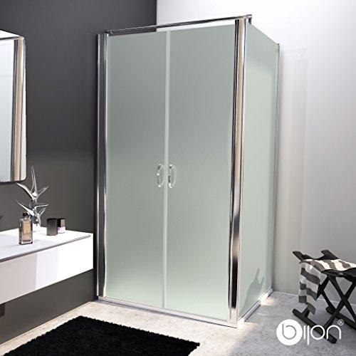 bijon® Design Glas Eckdusche mit Pendeltür | Nano | Mattglas | 100 x 195cm + Seitenwand 100 x 195cm