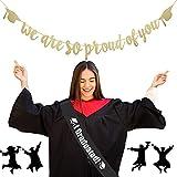 HAKOTOM Banderín de Graduación, Banda Graduación, Decoración Tomar Foto Graduación, Bandera de Graduación para Univerisidad Colegio Escuela de Estudiantes Fiesta de Graduarse Decorar Fondo de Foto.