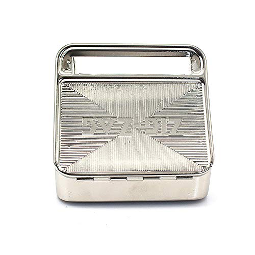 Caja de rodillo automática de tabaco Caja de máquina de liar cigarrillos Metal 70 mm Zig ZAG (Plata)