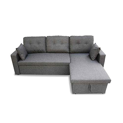 Canapé d'angle Convertible en Tissu Gris chiné foncé - IDA - 3 Places, Fauteuil d'angle réversible Coffre Rangement lit modulable