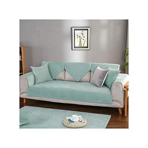 HGblossom Kristall Samt Sofabezug Weiche Verdicken Couchbezug Sofa Couch Handtuch Für Wohnzimmer Dekor Grün 1 Stück 90X70 cm 1 Pi