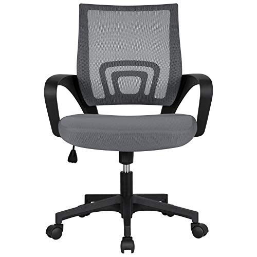 Yaheetech Office Chair Mesh Computer Desk Chairs, Ergonomic Mid-Back Swivel Chair with Armrest Dark Gray