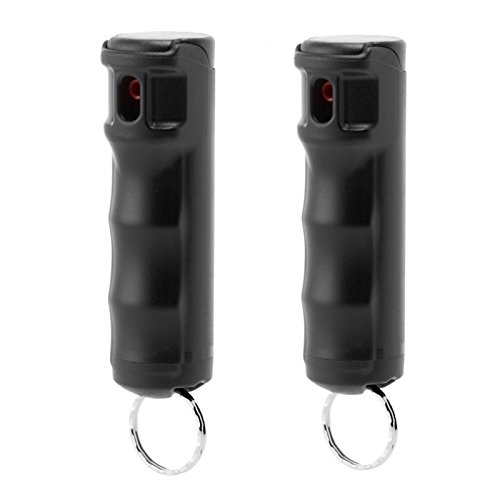 Mace Police Strength Pepper Spray with Invisible UV Identifying Dye, Keyguard Hard Case Flip Top with Key Ring and Safety Trigger, 10 Blast Stream of Up to 10 Feet, for Women (Black 2-Pack)