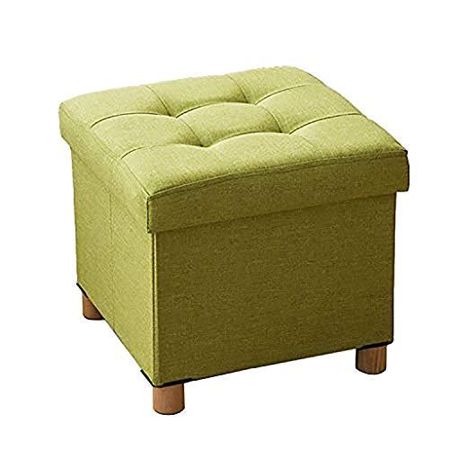ATTDDP Taburete Baúl de almacenaje plegable otomana caja con patas de madera, lino, reposapiés, reposapiés con relleno elástico de esponja