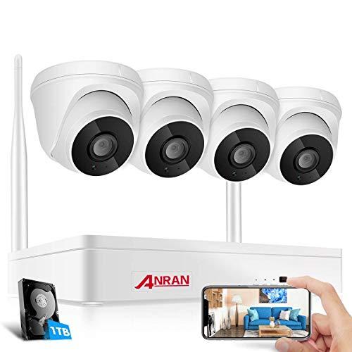 Sistema de cámara CCTV inalámbrica con audio, ANRAN Sistema de cámara de seguridad para el hogar 4CH 1080P NVR WiFi 2MP Vigilancia CCTV interior 4 cámaras domo,1TB HDD