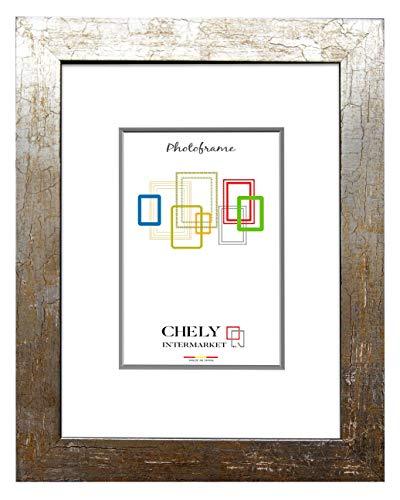 Chely Intermarket, Marco de Fotos Grande 50x70 cm (Grieta Oxidado) Mod-230 | Marco de Madera para Decoración de Casa | Fotografías de Boda | moldura con Relieve.(230-50x70-1,55)