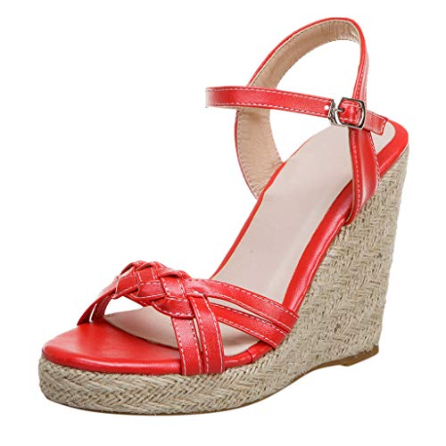 Dasuy Womens Studded Wedge Espadrilles Sandals Classic Elastic Band Open Toe Platform Slide Sandal for Ladies