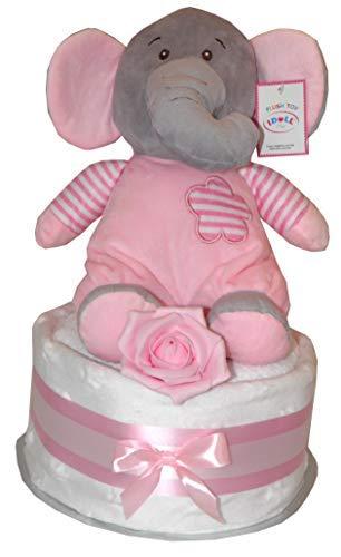 Filles Rose Gâteau de Couches Bébé Peluche Eléphant Mignon Rattletoy Design Comprend Blanc Doux Star Couverture Rose Lavage Lingette Fête de Naissance Bébé Naissance Maternité Cadeau
