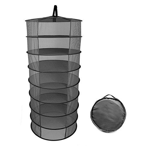 BESTOMZ 60 CM Deshidratador de Alimentos 8 Capa Portátil Plegable Secado Colgante Net Mesh Storage Organizador Net Rack Estante para la Planta de Jardín de Picnic de Pesca