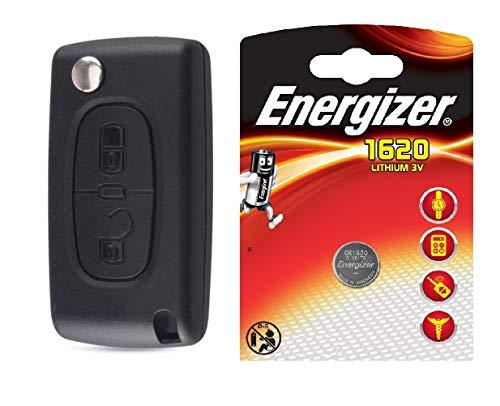 ENERGY01 HU83 CE0523 - Coque Clé Compatible Peugeot 107 207 307 308 407 2 Boutons CE0523 HU83 Lame avec RAYNURE - Emplacement DE LA Pile sur Circuit Imprime + 1 Pile CR1620 Lithium 3V Energizer -