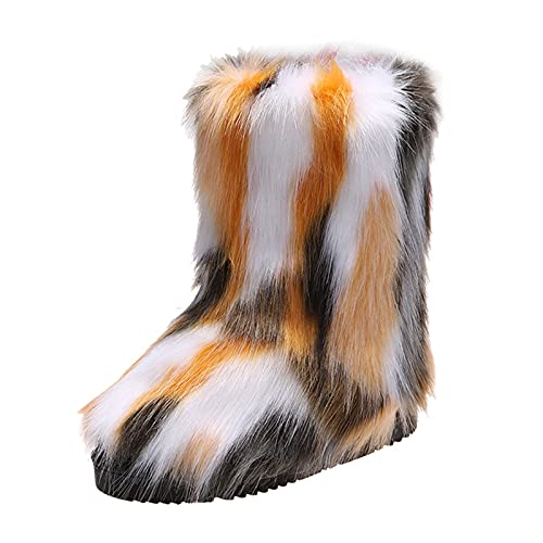 YWLINK Botas De Nieve Mujer Antideslizante Botas Mujer Con CuñA CóModos MáS Terciopelo Botines De Felpa De Zapatos Invierno Mujer Botas De Nieve Botas Botas TacóNes Fondo Grueso (Amarillo, 36)