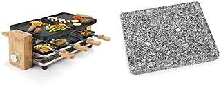 Appareil à Raclette Multifonction Princess Pure 8 Noir - 8 Personnes + 1 Plaque Teppanyaki (en Pierre Naturelle) 22,5x20 cm