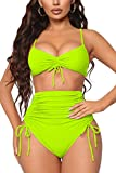 Meyeeka Tankini Swimsuits for Women,Strappy Ruched Tummy Control Two Piece Bathing Suits XXL Bright Yellow