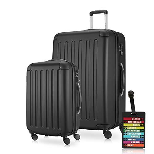 Hauptstadtkoffer - Spree - Koffer-Set (S+XL) Trolley-Set Rollkoffer Hartschalen-Koffer Reisekoffer, sehr leicht, TSA, Schwarz +Design Kofferanhänger