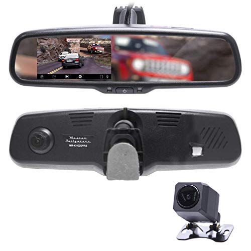 Master Tailgaters 4.3' LCD Rear View Mirror with 1080P 30FPS, 720P 60FPS HD DVR Dual Way Video Recorder with Superior Night Vision + AHD Backup Camera Included