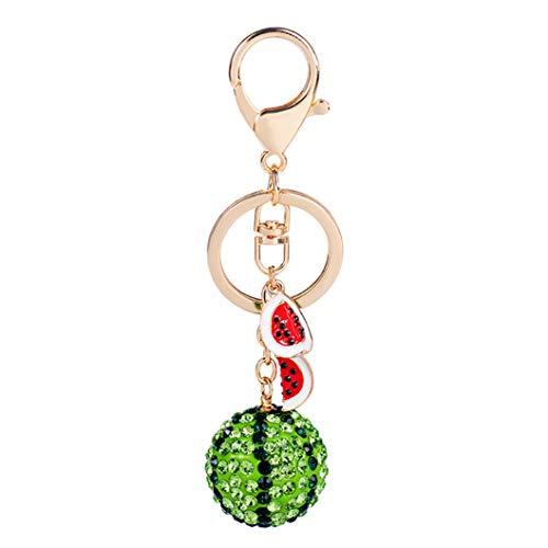 INSEET Grüne Wassermelone Ball Anhänger Schlüsselanhänger Crystal Rhineatone Geldbörse Tasche Auto Schlüsselanhänger Kette Schmuck Geschenk Zierliche Frucht Serie Schlüsselbund