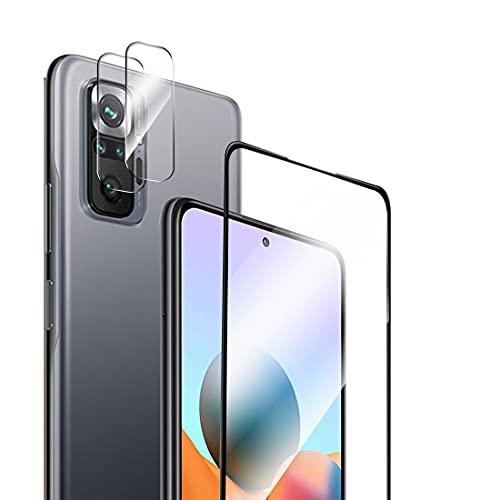 Protector de Pantalla Compatible con Xiaomi Redmi Note 10 Pro Cristal Templado+ Protector de Lente de Cámara, Cobertura Total Vidrio Templado [9H Dureza] HD Film Cristal Templado