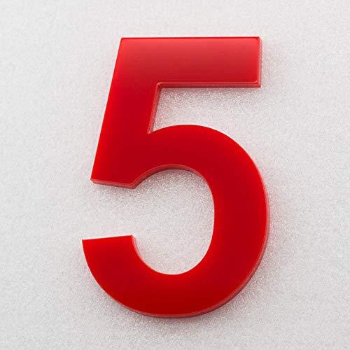 Hausnummer Hochglanz Acryl Rot RAL: 3H01 - Türnummer - Post Nummer - Plexiglas