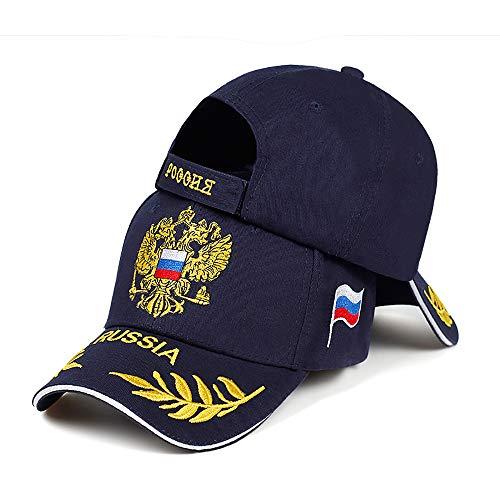 Russische bestickte Baseballkappen, modisch, Outdoor-Sonnenhüte, Herren und Damen, legere Kappen, verstellbare Sportkappen Gr. Einheitsgröße, marineblau