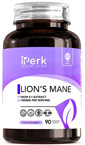 Lions Mane Mushroom Complex Supplement 1000mg Lion's Mane Per Serving 90 Vegan Capsules Manufactured in ISO Licenced Facilities in The UK