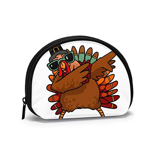 Coin Purse Bing Turkey Small Coin Pouch Canvas Wallet Portable Shell Storage Bag for Women Girls