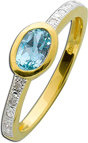 CH.ABRAMOWICZ Diamant Blautopas Ring Silber Sterling 925 gelbvergoldet (18)