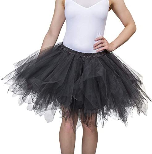 Dancina Women s Adult Vintage Petticoat Tulle Tutu Skirt Sticker XL Black Regular Size product image