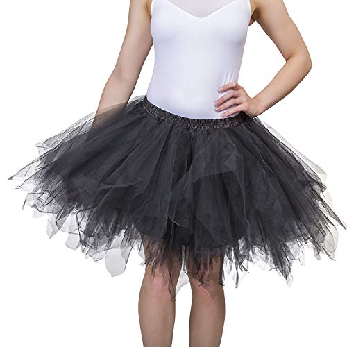 Dancina Women's Adult Vintage Petticoat Tulle Tutu Skirt [Sticker XL],Black,Regular Size