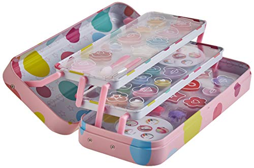 POP GIRL Color Tin - Estuche de Maquillaje - Set de Maquillaje para Niñas - Juguetes Niñas - Selección de Productos Seguros en un Estuche con 3 Pisos