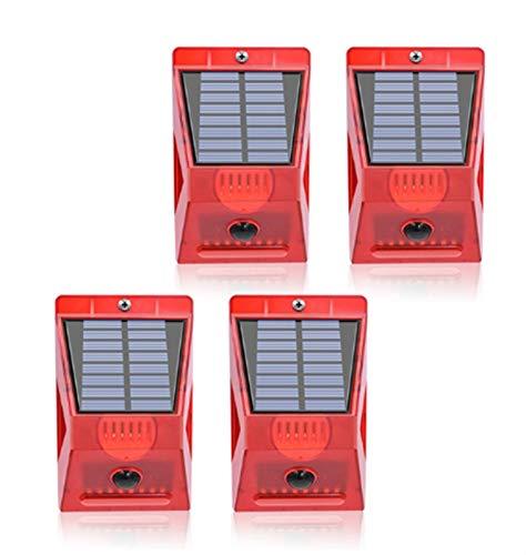 DingHome Luz Solar estroboscópica con Detector de Movimiento Control Remoto Lámpara de Alarma Solar 129dB Seguridad de Sonido Sirena Luces IP65 Impermeable (Color : Four)