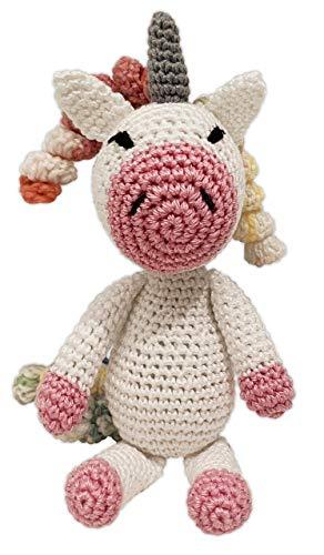 LOOP BABY gehäkeltes Einhorn Emilia - gehäkeltes Kuscheltier für Baby/Mädchen/Jungen aus Baumwolle -