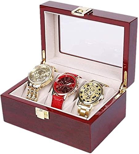 Caja de almacenamiento para reloj, color madera, caja para pintar, caja de almacenamiento, caja de cristal para reloj, caja segura y fuerte, color rojo