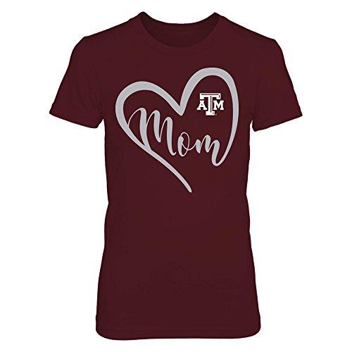 FanPrint Texas A&M Aggies T-Shirt - Heart Mom - Women's Tee/Maroon/M