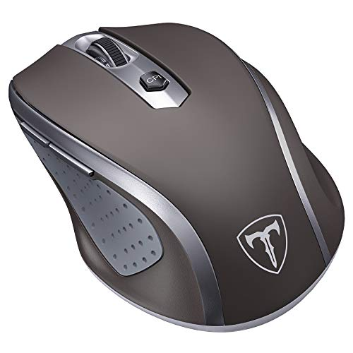 VicTsing Wireless Mouse, 2.4G 2400DPI Ergonomics Cordless Mouse with USB Receiver, Finger Rest, 5 Adjustable DPI Levels, Mobile USB Mice for Chromebook Notebook MacBook Laptop Computer PC, Gray