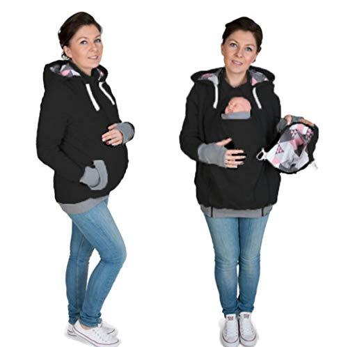 KURAZL Tragejacke für Mama und Baby, 3 in 1 Winter Umstandsjacke Mama Kängurujacke aus Fleece Tragepullove für Babytrage,Schwarz,M