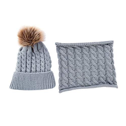 Sharplace El Más Nuevo 2pcs Baby Boy Girl Knitting Winter Warm Soft Hat Niño Beanie Cap + Bufanda - Gris, tal como se describe