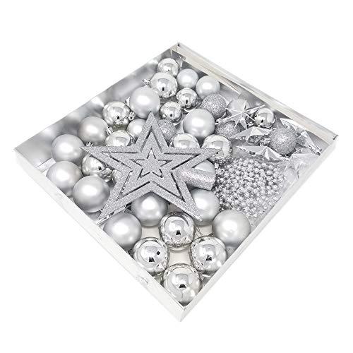 ToCi Christbaumschmuck in Silber Weihnachtskugeln Sterne Perlenkette 45 Teiliges Set