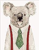 FSKJSZYH Rahmenlose DIY Malen Nach Zahlen Paar Koala Mit Kleidung Gemälde Mit Kits Für Erwachsene...