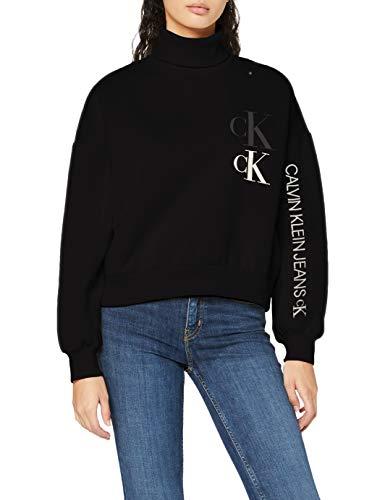 Calvin Klein Jeans Damen Oversized Sweatshirt W Roll Neck Pullover, CK Black, M