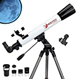 Moutec Refractor Telescopes, 700/70mm Telescope for Beginners, Astronomy Travel Scope with Smartphone Adapter and Three eyepieces, 3X Barlow Lens