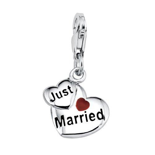 s.Oliver Damen Anhänger Charm 925 Sterlingsilber Herz Just Married 396189