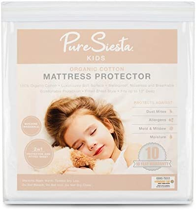 Pure Siesta Kids Organic Cotton Waterproof Mattress Protector Hypoallergenic Bed Cover for Twin product image