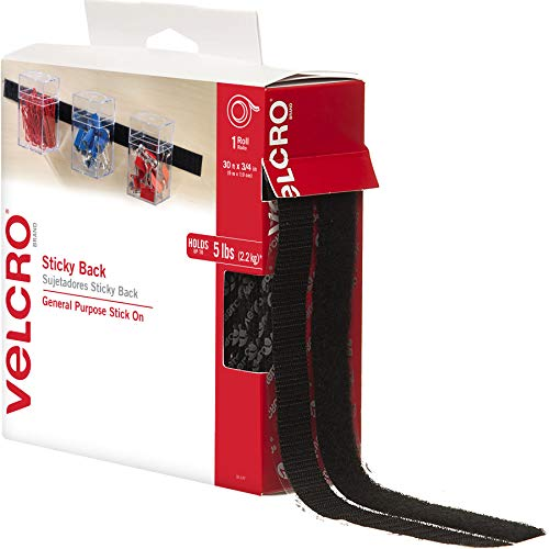 VELCRO Brand - Sticky Back Hook and Loop Fasteners – Peel and Stick Permanent Adhesive Tape Keeps Classrooms, Home, and Offices Organized – Cut-to-Length Roll | 30 ft x 3/4 in Tape | Black