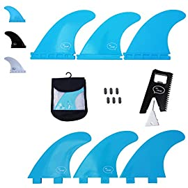Ho stevie! Fiberglass reinforced polymer surfboard fins - thruster (3 fins) fcs or futures sizes, with fin bag, screws… 3 🏄♂️ thruster fins fit any surfboard that uses fcs (original or fcs ii) or futures fins (select which kind) - whether it's a shortboard, funboard, or longboard. 🌊 balanced fin template is suited for all types of waves. Hit the accelerator at your favorite point break, boost some airs, or lay into some wedges at the nearest beachbreak. 🎁 includes everything you need: 3 surfboard fins, wax comb / fin key / bottle opener, fin screws, and travel case.