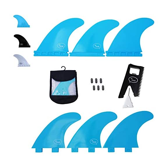 Ho Stevie! Fiberglass Reinforced Polymer Surfboard Fins - Thruster (3 Fins) FCS or Futures Sizes, with Fin Bag, Screws… 1 🏄♂️ THRUSTER FINS fit any surfboard that uses FCS (original or FCS II) or Futures fins (select which kind) - whether it's a shortboard, funboard, or longboard. 🌊 BALANCED FIN TEMPLATE is suited for all types of waves. Hit the accelerator at your favorite point break, boost some airs, or lay into some wedges at the nearest beachbreak. 🎁 INCLUDES EVERYTHING YOU NEED: 3 surfboard fins, wax comb / fin key / bottle opener, fin screws, and travel case.